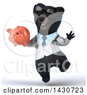 Poster, Art Print Of 3d Black Bear Veterinarian Or Doctor Holding A Piggy Bank On A White Background
