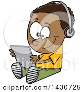Clipart Of A Cartoon Black Boy Sitting On The Floor And Playing With A Tablet Or Listening To An Audio Book Royalty Free Vector Illustration by toonaday