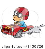 Clipart Of A Cartoon White Boy Driving A Race Car Royalty Free Vector Illustration