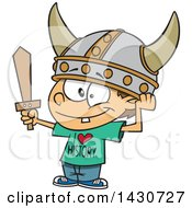 Cartoon White Boy Wearing A Viking Helmet And I Love History Shirt