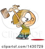 Clipart Of A Cartoon White Boy Swinging A Hammer Up Royalty Free Vector Illustration by toonaday