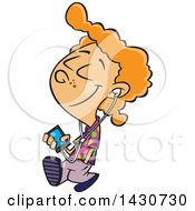 Clipart Of A Cartoon White Boy Walking And Listening To Music On An Mp3 Player Royalty Free Vector Illustration