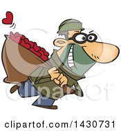 Clipart Of A Cartoon White Male Robber Stealing Hearts Royalty Free Vector Illustration