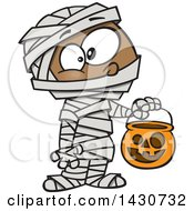 Clipart Of A Cartoon Black Boy In A Mummy Halloween Costume Royalty Free Vector Illustration
