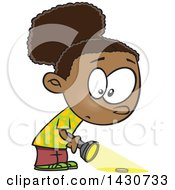 Cartoon Black Girl Searching With A Flashlight
