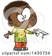 Clipart Of A Cartoon Black Boy Showing That His Dog Ate His Homework Royalty Free Vector Illustration