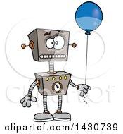 Poster, Art Print Of Cartoon Birthday Robot Holding A Balloon