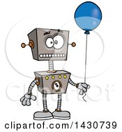 Cartoon Birthday Robot Holding A Balloon