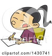 Clipart Of A Cartoon Asian School Girl Writing An Essay Royalty Free Vector Illustration
