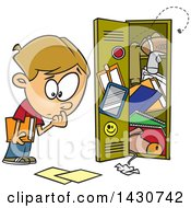 Cartoon White School Boy At A Messy Locker
