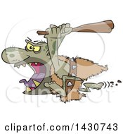 Clipart Of A Cartoon Angry Ogre Running With A Club Royalty Free Vector Illustration by toonaday