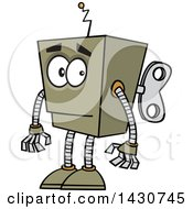 Clipart Of A Cartoon Low Tech Boxy Robot Royalty Free Vector Illustration by toonaday