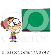 Cartoon White School Girl Pretending To Be A Teacher Standing By A Chalk Board