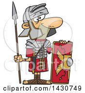 Clipart Of A Cartoon Roman Soldier With A Shield And Spear Royalty Free Vector Illustration by toonaday