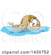 Clipart Of A Cartoon White Boy Swimming Royalty Free Vector Illustration