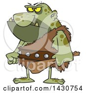 Clipart Of A Cartoon Angry Ogre Holding A Club Royalty Free Vector Illustration by toonaday