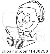 Clipart Of A Cartoon Black And White Lineart Boy Sitting On The Floor And Playing With A Tablet Or Listening To An Audio Book Royalty Free Vector Illustration by toonaday