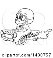 Cartoon Black And White Lineart Boy Driving A Race Car