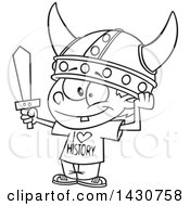 Clipart Of A Cartoon Black And White Lineart Boy Wearing A Viking Helmet And I Love History Shirt Royalty Free Vector Illustration by toonaday