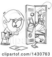 Cartoon Black And White Lineart School Boy At A Messy Locker