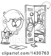 Cartoon Black And White Lineart School Boy At A Messy Locker