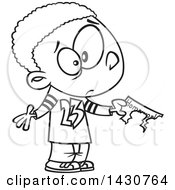 Clipart Of A Cartoon Black And White Lineart Boy Showing That His Dog Ate His Homework Royalty Free Vector Illustration