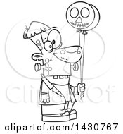Clipart Of A Cartoon Black And White Lineart Frankenstein Holding Balloons Royalty Free Vector Illustration by Ron Leishman