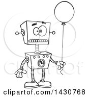Poster, Art Print Of Cartoon Black And White Lineart Birthday Robot Holding A Balloon