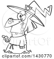 Cartoon Black And White Lineart Warty Witch Pointing