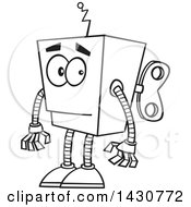 Poster, Art Print Of Cartoon Black And White Lineart Low Tech Boxy Robot