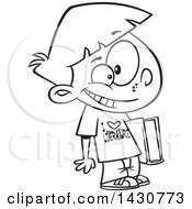 Cartoon Black And White Lineart School Boy Wearing An I Love Literature Shirt