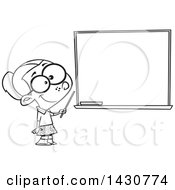 Clipart Of A Cartoon Black And White Lineart School Girl Pretending To Be A Teacher Standing By A Chalk Board Royalty Free Vector Illustration