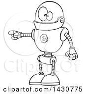 Poster, Art Print Of Cartoon Black And White Lineart Goofy Robot Doing The Pull My Finger Joke