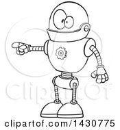 Cartoon Black And White Lineart Goofy Robot Doing The Pull My Finger Joke