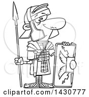 Clipart Of A Cartoon Black And White Lineart Roman Soldier With A Shield And Spear Royalty Free Vector Illustration by toonaday