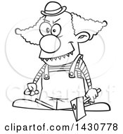 Clipart Of A Cartoon Black And White Lineart Scary Clown Holding An Axe Royalty Free Vector Illustration by toonaday