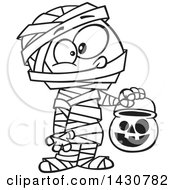 Clipart Of A Cartoon Black And White Lineart Boy In A Mummy Halloween Costume Royalty Free Vector Illustration by toonaday