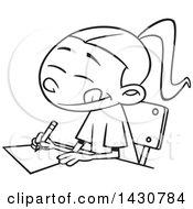 Cartoon Black And White Lineart School Girl Writing An Essay