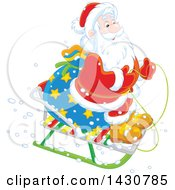 Clipart Of A Christmas Santa Claus On A Little Sled Royalty Free Vector Illustration by Alex Bannykh