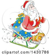 Clipart Of A Cartoon Christmas Santa Claus On A Little Sled Royalty Free Vector Illustration
