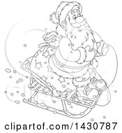 Clipart Of A Cartoon Black And White Lineart Christmas Santa Claus On A Little Sled Royalty Free Vector Illustration