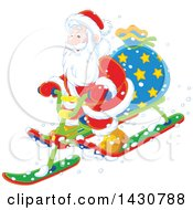 Clipart Of A Christmas Santa Claus On A Sled Royalty Free Vector Illustration by Alex Bannykh