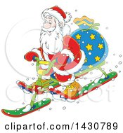 Clipart Of A Cartoon Christmas Santa Claus On A Sled Royalty Free Vector Illustration by Alex Bannykh