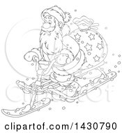Cartoon Black And White Lineart Christmas Santa Claus On A Sled