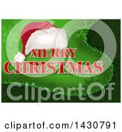 Clipart Of A Santa Hat And Merry Christmas Greeting On Green With Snowflakes Royalty Free Vector Illustration by dero