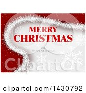 Merry Christmas And Happy New Year Greeting On Red And Gray With Snowflakes
