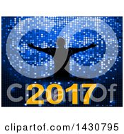 Clipart Of A Silhouetted Male Dj Holding His Arms Out Over New Year 2017 On Blue Disco Tiles Royalty Free Vector Illustration