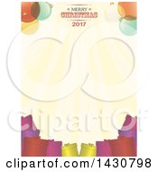 Clipart Of A Merry Christmas 2017 Greeting Border Over Gifts Royalty Free Vector Illustration by elaineitalia
