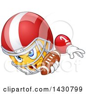 Clipart Of A Cartoon Yellow Emoji Emoticon Smiley Football Player Royalty Free Vector Illustration by yayayoyo