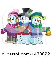 Clipart Of A Group Of Snowmen Singing Christmas Carols Royalty Free Vector Illustration by visekart